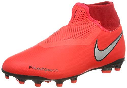 Nike Unisex-Kinder Phntom Vsn Academy DF FG/MG Fußballschuhe, Mehrfarbig (Bright Crimson/Metallic Silver 600), 34 EU - Kunstrasen Fußball Schuhe