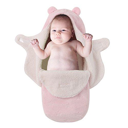 Baby Schlafsack, Samber Neugeborene Swaddle Decke Kapuze Schlafsack Stroller Wrap Pucksack Pucktuch 68 x 80 cm (Rosa)