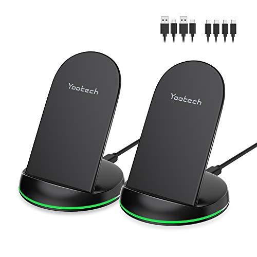 yootech Wireless Charger,2-Pack 10W Max Qi Wireless Ladestation für iPhone 11/11 Pro/11 Pro Max/XS MAX/XR/XS/X/8/8 Plus,Ladegerät Induktiv für Samsung Galaxy Note 10/9/8/S10/S9/S9 Plus/S8 Plus/S7 usw.