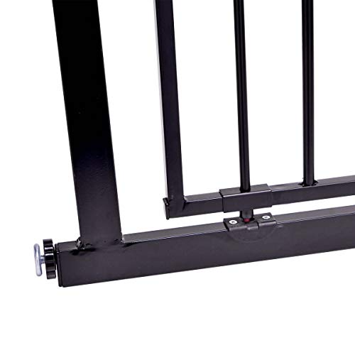 Venture Q-Fix Extra Tall Pressure Fit Pet Safety Gate | 75-84cm Wide, 110cm Extra Tall | Unique 90° Two Way Open/Stay Door, Auto Close Fuction (Black, 75-84cm) Dog Gate  Venture