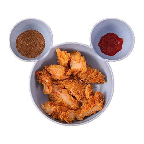 Lomire Bol en matériau écologique pour bébés, Bol en Forme de Mickey pour Enfants, Bol à Salade Bol à céréales Bol à Dessert Parfait pour bébés Enfants, Bleu