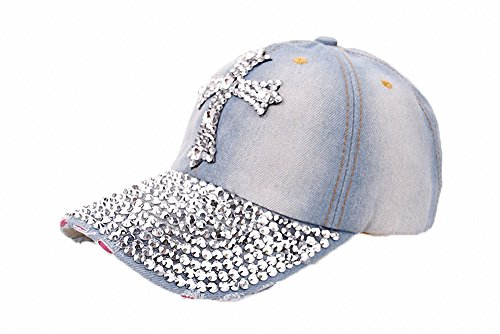 Women's Classic Vintage Crown Cross Rhinestone Washed Denim Baseball Cap Adjustable Low Profile Dad Hat