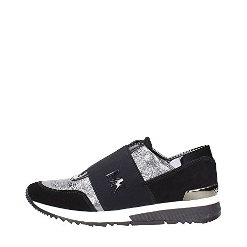Michael Kors Sneakers MK Trainer Gun Black Sparkle Metallic 38