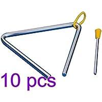 Scrox Musical Triangle Beater Percusión Metal Instrumento Música Escuela Juguete Niños Regalo 10PCS size 10PCS (Plata)