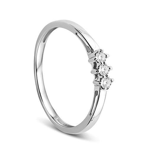 Orovi, anello di fidanzamento donna, solitario, in oro bianco con diamante da 9carati (375), brillanti da 0,10 carati e Oro bianco, 56 (17.8), colore: gold, cod. OR72259R56