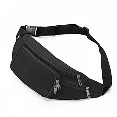 SAVFY Bum Waist Bag 4 Zip Pockets Travel Hiking Outdoor Sport Bum Bag Holiday Money Hip Pouch