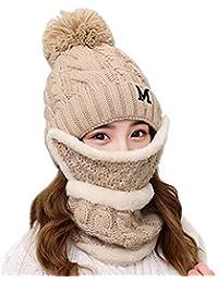 Mujer Chica Sombrero Bufanda Máscara Set Color sólido Traje de lana de  punto Más terciopelo y 45df2f017c2d