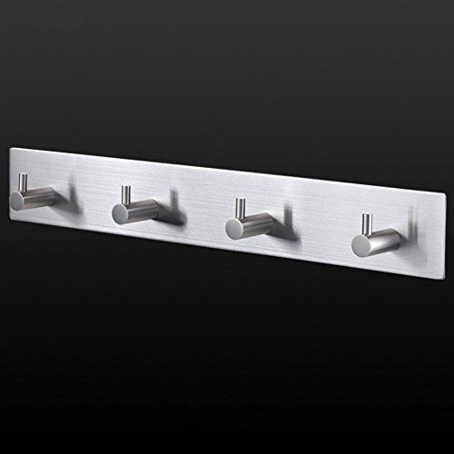 Wand montiert Garderobe SUS304Edelstahl Hakenleiste keine Stanz Tür Kleiderbügel, 4Haken, 3m selbstklebend, 25,4cm für hängende Kleidung Gap Hat Gürtel Schlüssel