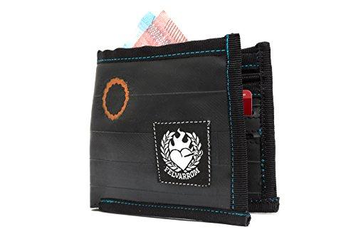 VEGANE Brieftasche, VEGETARISCHE GELDBÖRSE - Bifold Zip Brieftasche für Männer Von Upcycled Fahrrad Innenrohr Von Felvarrom (Black/Shwarz)