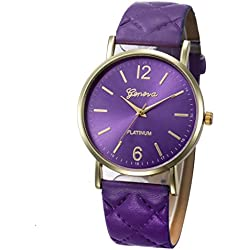 WINWINTOM Roman Leather Band Analog Quartz Wrist Watch Purple