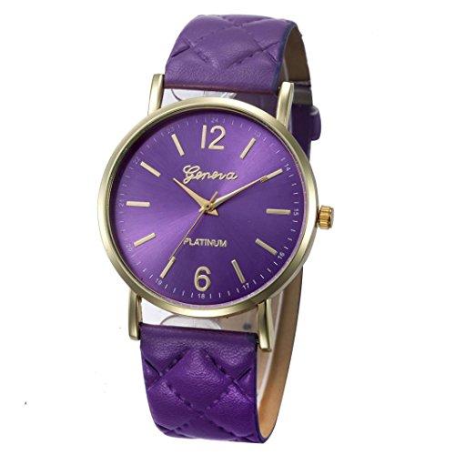 Winwintom romain Bande de cuir analogique montre à quartz Violet