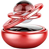 AUTO SNAP Car Dashboard Solar Air Freshener Double Ring Perfume Aroma Diffuser 360 Degree Auto Rotating Suspension (RED)