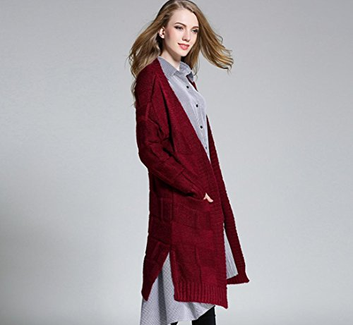 Maglione cappotto cardigan in maglia maglia maglione cappotto lungo Plaid giacca a maglia maglioni acrilici femminili grandi cantieri di spessore plaid cardigan , red
