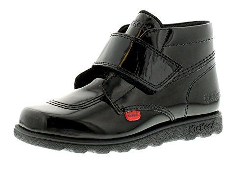 New Girls/Childrens Black Patent Kickers Fragma High Shine Boots - Black -...