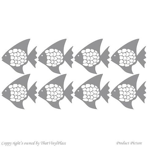 Poisson, poissons, 8 (15 x 15 cm Couleur Gris pour chambre d'enfant, salle de bain, chambre d'enfants, autocollant de voiture, fenêtres et vinyle-Sticker mural fenêtre Art Decals Sticker vinyle-ThatVinylPlace, Décoration