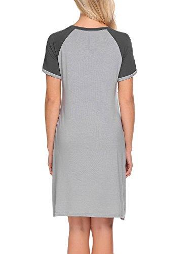 Unibelle Damen Nachthemd Kleid Nachtwäsche Nachtkleid Sleepwear Mit Tasche S-XXL Grau