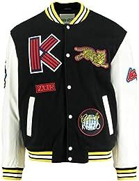 22c0f5c49 Kenzo Mens Patchwork Varsity Jacket, Black White Logo Bomber Jacket