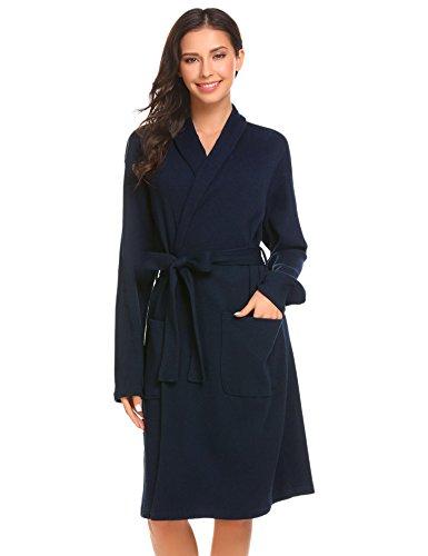Damen Bademantel Baumwolle Langarm Morgenmantel Waffelpique V Kragen Kimono Saunamantel Robe mit Taschen Grau Weiß Navy Blau