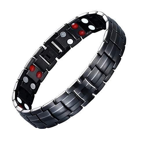 JFUME Herren Magnet Armband Männer Armbänder aus Edelstahl mit Link Remove Tool Schwarz