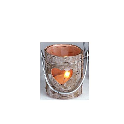 Windlicht Teelichthalter aus Holz mit Rinde mit Herz und Glaseinsatz 7,5 cm hoch Ø 6 cm zum Hinstellen oder mit Bügel zum Aufhängen