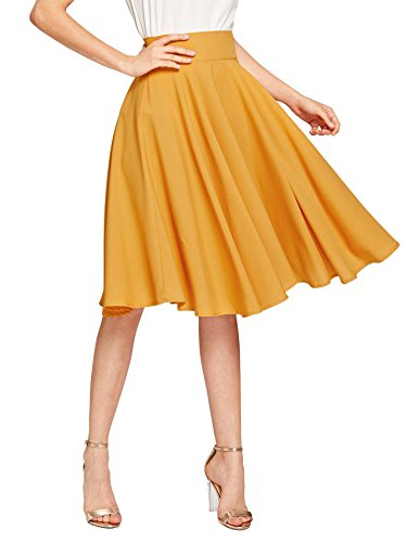 DIDK Damen A-Linie Elegant Faltenrock Hohe Taille Rock Knielang Rockabilly Vintage Retro Swing Röcke Gelb L