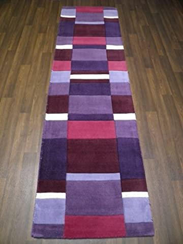 Indian Hand Tufted Textured 100% Wool Rug 60cm x 230cm Approx 8x2 Purple Modern Design Top Quality