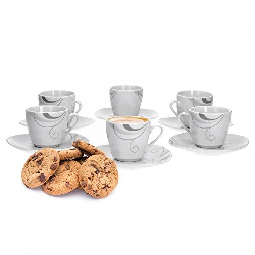 Van Well Portofino 6er Set Espressotasse + Untertasse, Espresso-Set, Liniendekor, edles Marken-Porzellan