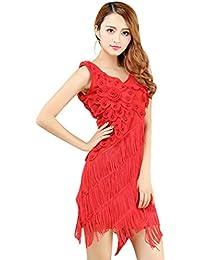 YiJee Mujer Vestido de baile Latino Borla Salsa Tango Flamenco Costume 21852f3ed76