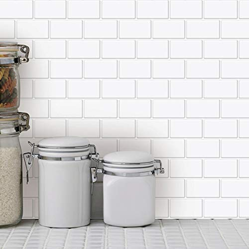Art3d 10 Hojas de Azulejos para despegar y Pegar - 12 x 12 Pulgadas Premium Anti Moho Cocina Backsplash Peel and Stick Azulejos, Color Blanco