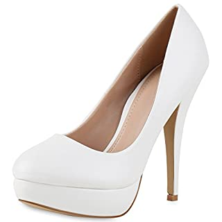 Elegante Damen Pumps Plateau High Heels Stilettos Schuhe Weiss White 38