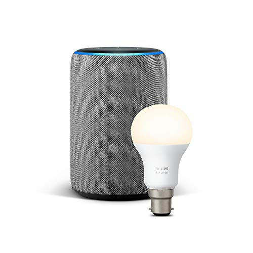 All-new Echo Plus (2nd Gen), Heather Grey + Philips Hue White bulb B22