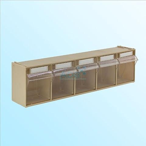 ADB Kleinteilemagazin beige 3 · 4 · 5 · 6 · 9 Fächer Kippschütten Klarsichtmagazin (Hinten Werkzeugkasten)