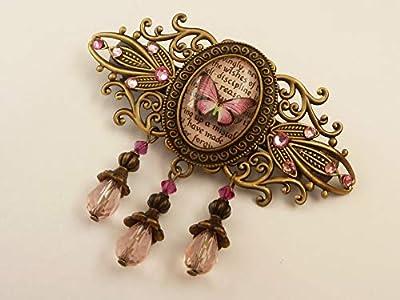 Pince à cheveux avec papillon vintage en bronze rose