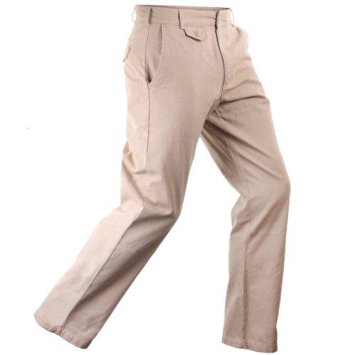 Stuburt Essentials Herren Chino Hose Baumwolle Golfhose Flache Front Gerades Bein - 34W x 33L, Beige (Flache Hosen Front)