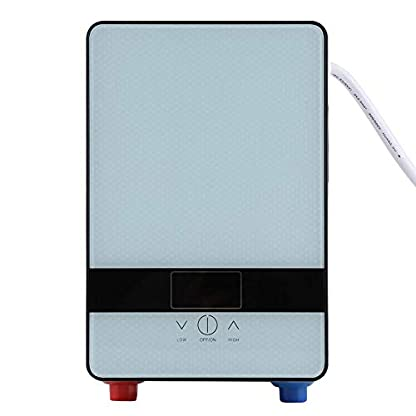 Hongzer Calentador de Agua, Pantalla LED de Temperatura Calentador de Agua Caliente eléctrico instantáneo sin Tanque con función de Apagado automático sin Agua para el hogar, Ducha de baño