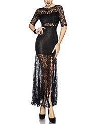 HZZ Floral escarpada atractiva cordón de las mujeres ver a través de Cóctel del club maxi vestido de noche largo , black , m