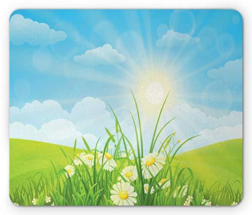 Gras-Mausunterlage, Umwelt-themenorientierte Blumenwiesen-Illustration mit Jahreszeit-Blüte des Sonnenstrahls Su er, Standardgrößen-Rechteck-rutschfestes Gummi-Mousepad, Grün und Blau,Gummimatte 11,8