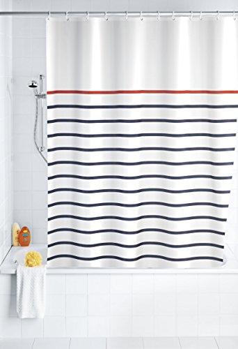 Marina Duschvorhang (WENKO 20964100 Duschvorhang Marine White - waschbar, mit 12 Duschvorhangringen, 100 % Polyester, Mehrfarbig)