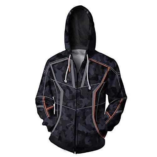 Nexthops Tony Stark Kapuzenpullover Herren Sweatshirt mit Reißverschluss Schwarz aus Baumwolle Cosplay Zubehör (L)