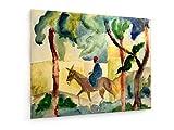 August Macke - Eselsreiter - 90x70 cm - Textil-Leinwandbild auf Keilrahmen - Wand-Bild - Kunst, Gemälde, Foto, Bild auf Leinwand - Alte Meister/Museum