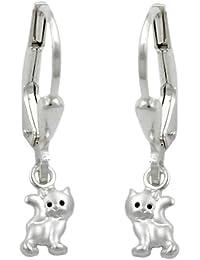 Bijoux Boucles d'oreille pour les enfants argent 925 chats 21 x 5 mm