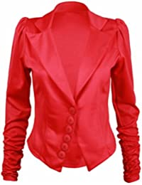 New Ladies Stretch Fitted Pointed Hem Button Blazer Womens Long Ruched Gathered Sleeve Plain Jacket Red Size 10