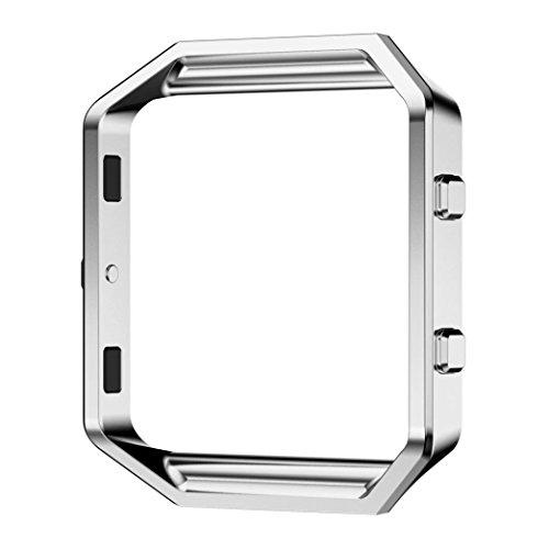 Accessorio Telaio per Fitbit Blaze Smart Fitness Watch - PUGO TOP Lusso Replacement Acciaio inossidabile Telaio in metallo, Orologio da Polso Metal Frame Custodia di Protezione-argento