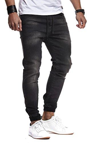 LEIF NELSON Herren Jeans Hose Slim Fit | Denim Blaue graue Lange Jeanshose für Männer | Coole Jungen weiße Stretch Freizeithose Schwarze Cargo Chino Sommer Winter Basic | LN1220N Schwarz W30/L32 (Jeans Men Cool)