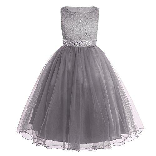festkleid kinder iEFiEL Mädchen Kleid festlich Lange Blumenmädchenkleider für Hochzeits Festkleid Kinder Brautjungfern Kleid Grau 164