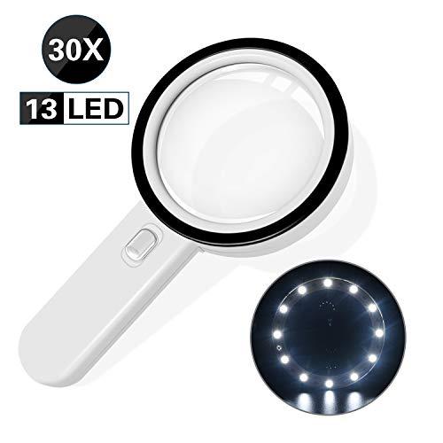 Lupe mit 13 Led Licht - 128 mm Groß Verzerrungsfreier Leselupe mit Doppelglaslinse Leichte Leselupe für Senioren und Kinder, Kleingedruckten Prüfen Schmuck Münzen Briefmarken Handwerk