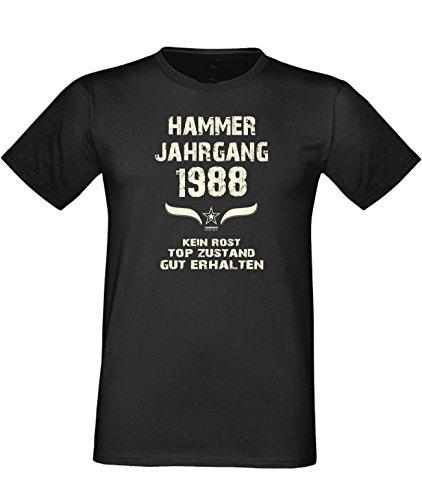 Humorvolles Happy-Birthday Fun-t-shirt Geschenk für den liebsten Menschen mit Sprüche-Motiv: zum 28. Geburtstag Hammer Jahrgang 1988 Farbe: schwarz Schwarz