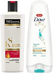 TRESemme Keratin Smooth Conditioner, 190ml & Dove Dryness Care Conditioner, 180ml