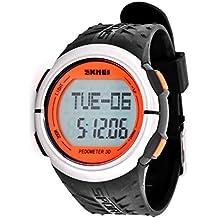 5043cac56db6 DSstyles Reloj Hombre 5 ATM Resistente al agua Reloj deportivo con medición  de ritmo cardíaco Pedometer