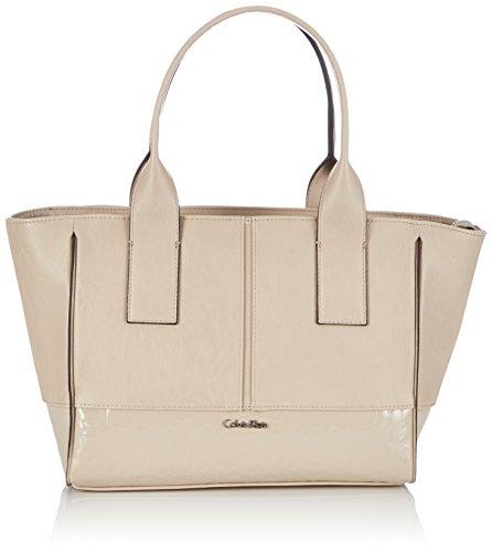 Calvin Klein Jeans Damen MADDIE MEDIUM EW TOTE Shopper, Beige (HUMUS-PT 290) 28x23x14 cm